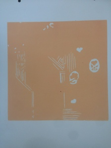 This was the first layer of ink. An orange/peach color.